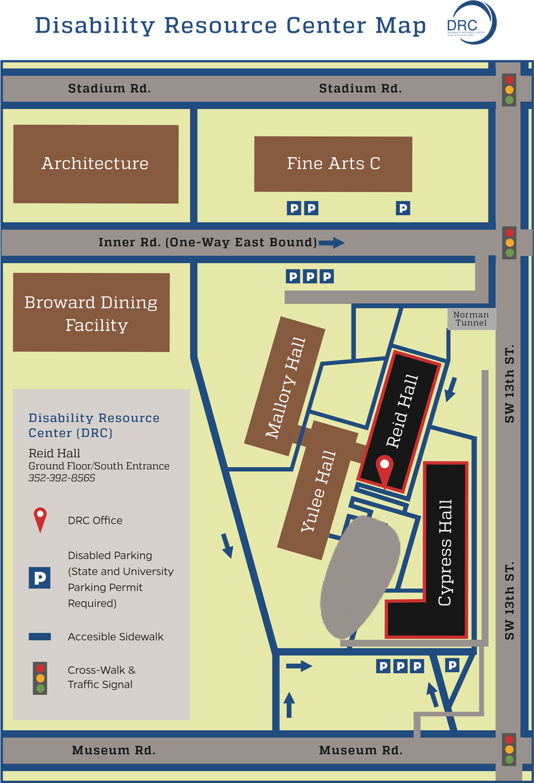 graphic with map of drc, disability resource center locates at Cypress Hall Ground Floor/South Entrance, contact number is 3523928565