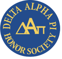 Delta Alpha Pi Honor Society written in yellow text wrapping around a blue circle. the greek letters for delta, alpha, and pi are shown in the middle of the circle in yellow.