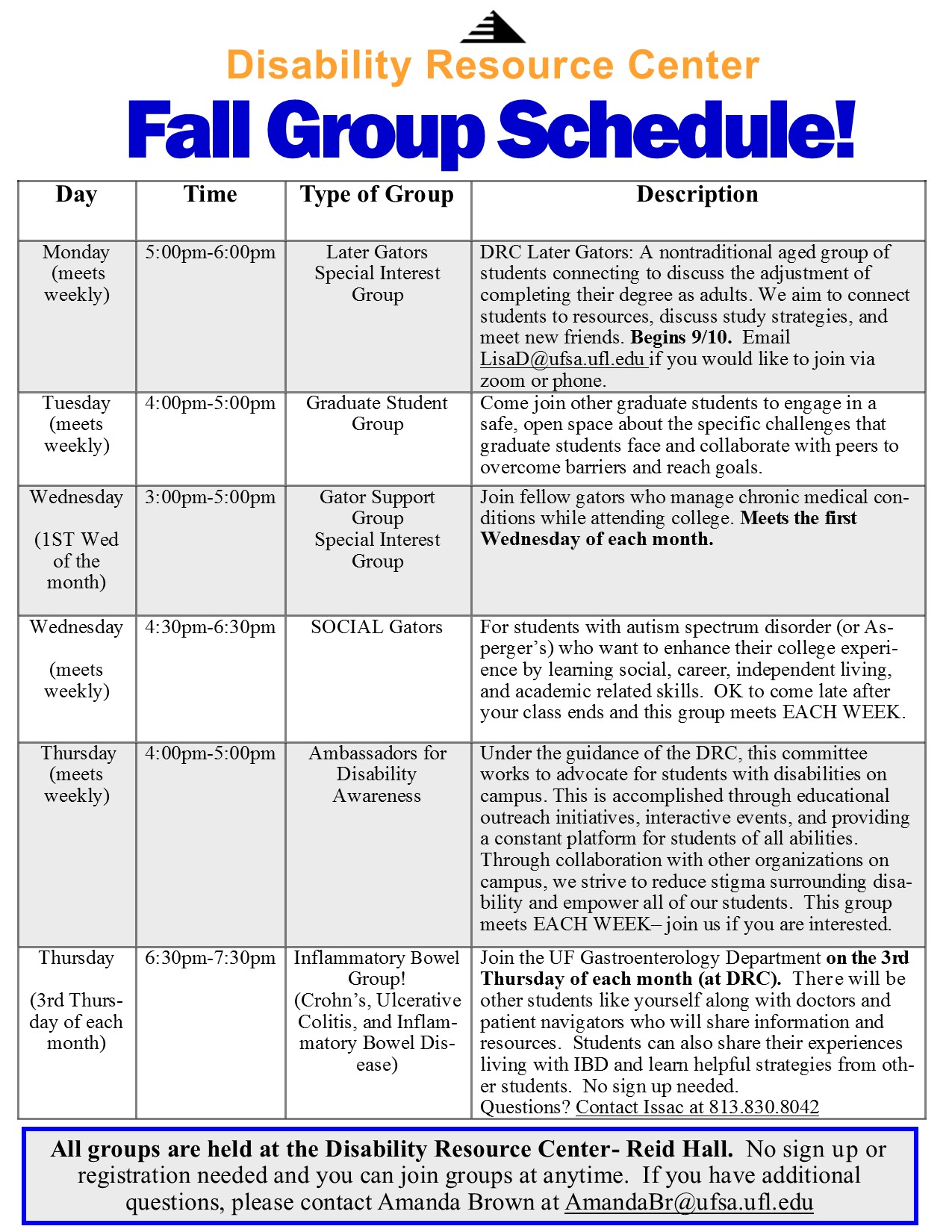 Image of Fall 2018 group schedule. Please see PDF link below for accessible version.